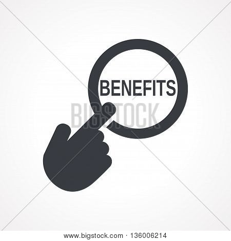 Vector hand with touching a button icon with word Benefits on white backgroud