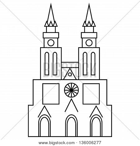 Basilica of Our Lady of Lujan, Argentina icon in outline style isolated on white background