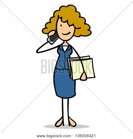 Cartoon businesswoman making phone call with her smartphone