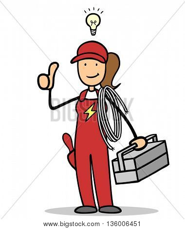 Female cartoon electrician with toolbox holding her thumbs up