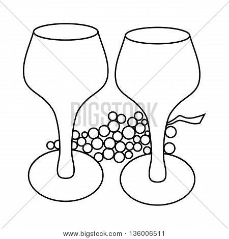 Wine glass and grape icon in outline style isolated on white background