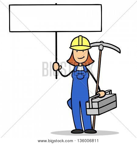 Female cartoon construction worker holding up a blank sign