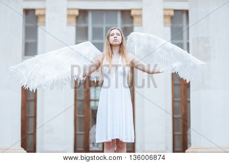 Beautiful angel girl spread her white wings