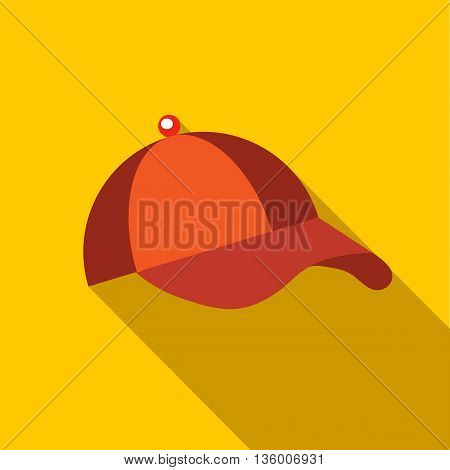Orange baseball hat icon in flat style on a yellow background
