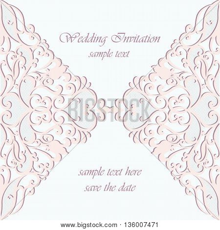 Vector invitation card ornamental lace with damask elements. Elegant lacy feather decoration greeting card wedding invitation or announcement template. Serenity and pink. Vector