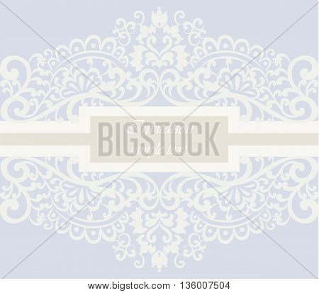 Wedding Invitation card with lace ornament. Serenity color. Vector