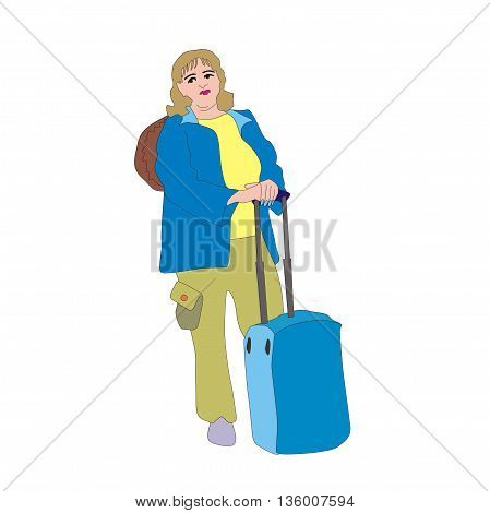 Illustration retired traveler woman with a large travel bag waiting for transport at the bus stop