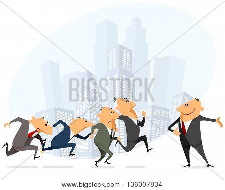 Vector illustration of a many businessmen running