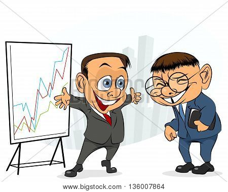 Vector illustration of a businessman laughing with other