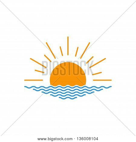 Vector sunset or sunrise icon. Vector sunset or sunrise icon. Sunset or sunrise logo design. Vector illustration.