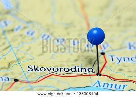 Skovorodino pinned on a map of Russia