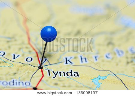 Tynda pinned on a map of Russia