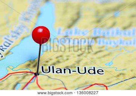 Ulan-Ude pinned on a map of Russia
