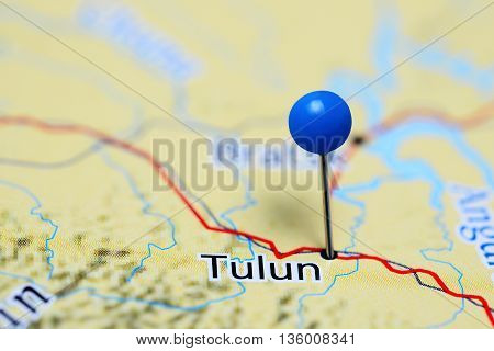 Tulun pinned on a map of Russia