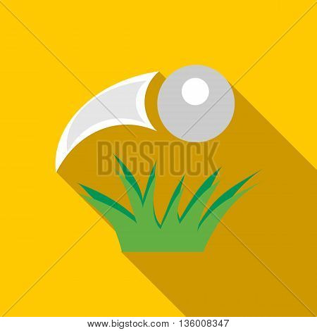 Golf ball flying icon in flat style on a yellow background