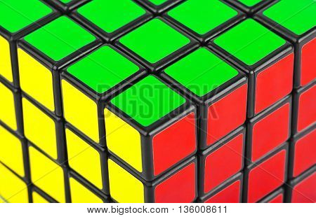 MOSCOW, RUSSIA - August 31, 2014: Macro of Rubik's cube puzzle. Cube was invented by a Hungarian architect Erno Rubik in 1974.
