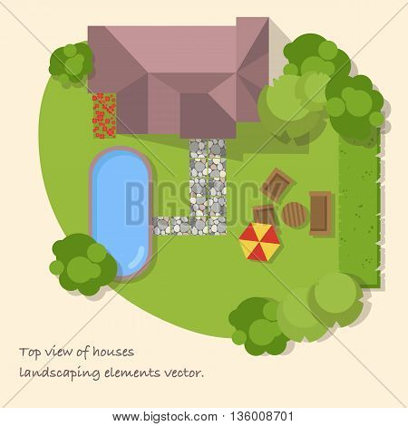 Top view of a country with house,courtyard, lawn and pool. Top view of a house. Vector illustration.
