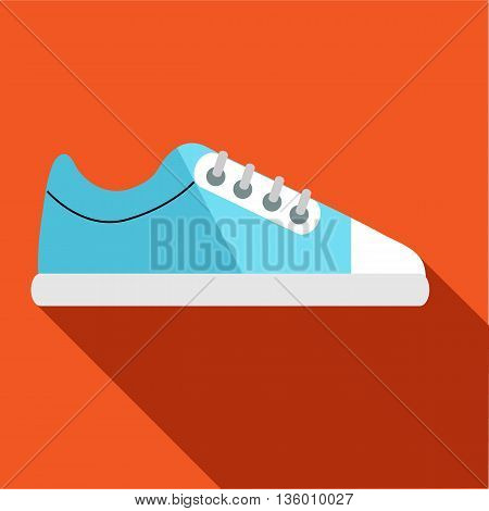 Blue golf shoe icon in flat style on an orange background