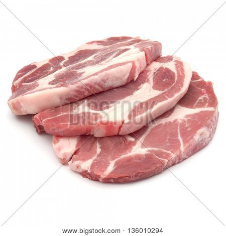 Raw pork chop meat isolated on white background cutout