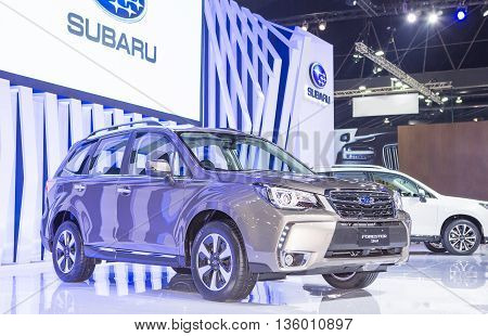 Bangkok - March 22 : gray Subaru series Forester - in display at The 37th Bangkok international Motor Show 2016 on March 22 2016 in Bangkok Thailand