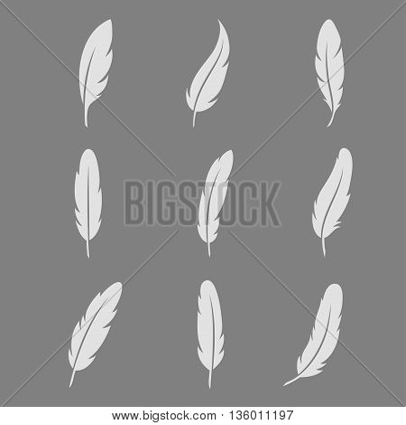 White feather icon on dark background vector set. Vintage quill ink in flat style. Symbols pen isolated from the background.