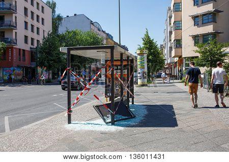 Berlin Germany - June 23 2016: Vandalised bus stop in Berlin Kreuzberg Germany