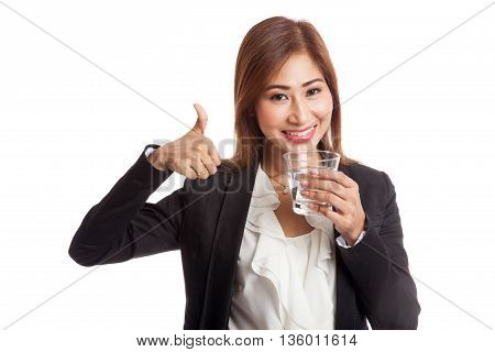 Young Asian Woman Thumbs Up With A Glass Of Drinking Water