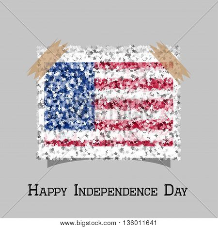 Memorial Day with star in national flag colors. Happy independence day card United States of America, 4 th of July. Vector EPS