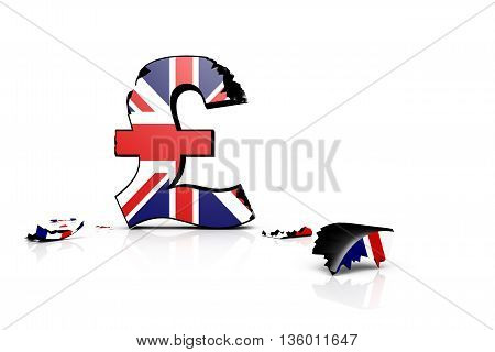 3D illustration of the battered British pound after the Brexit