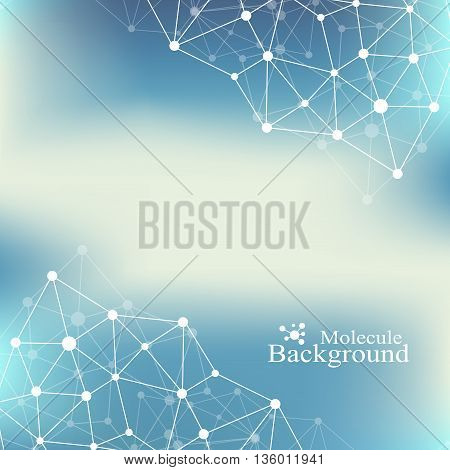 Molecule and communication background of neurons and nervous system. Graphic background molecules atom dna. Geometric abstract with connected line and dots. Big data composition. Vector illustration