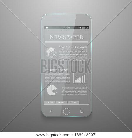 Realistic vector of glass smartphone, Smartphone concept.