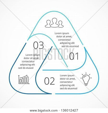 Circle arrows diagram for graph infographic presentation with 3 steps parts options.
