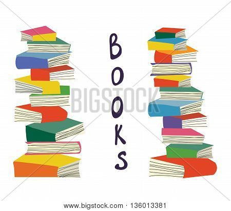 Books piles background for the educational card vector illlustration design