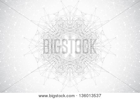 Geometric abstract with connected line and dots, radial graphics. Minimalism chaotic background visualization. Linear sign, symbol. Big data composition. Vector illustration