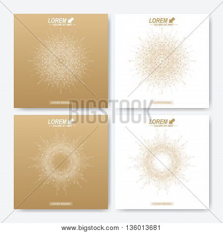 Modern vector template for square brochure, Leaflet, flyer, cover, magazine or annual report. Business, science, medicine and technology design book layout. Abstract presentation with golden mandala