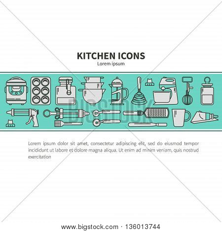 Set of kitchen utensils and items for baking. Cookware. Icons in a linear style. Kitchenware. Modern design. Horizontal banner