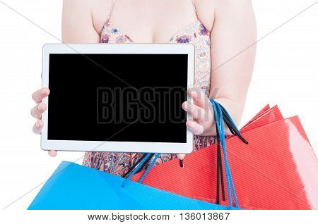 Close-up Of Young Woman Showing Tablet With Blank Display