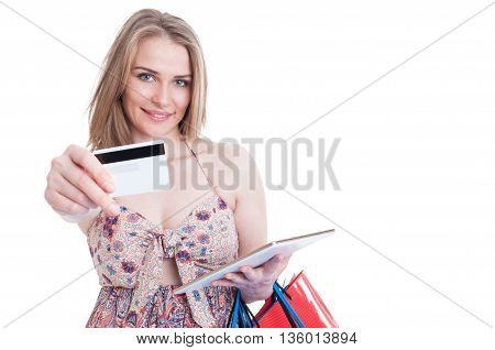 Smiling Happy Shopaholic With Tablet Offer Debit Card