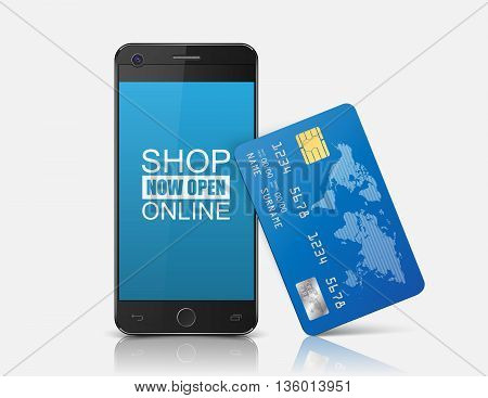 Internet shopping concept smartphone with credit card.vector