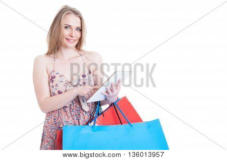 Online Shopping Concept With Happy Beautiful Shopper Holding Modern Tablet