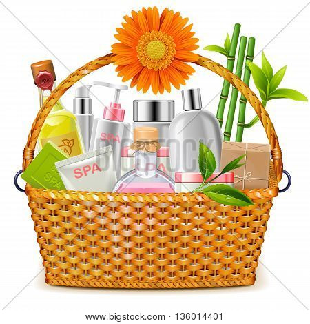 Vector Basket with SPA Cosmetics isolated on white background
