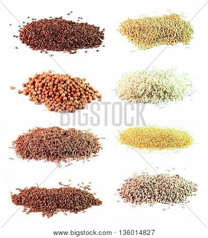 Eight kinds of groats sprinkled on a white background - buckwheat millet spelled corn grits wholegrain noodles white rice chickpeas barley