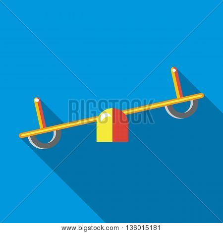Seesaw icon in flat style on a sky blue background
