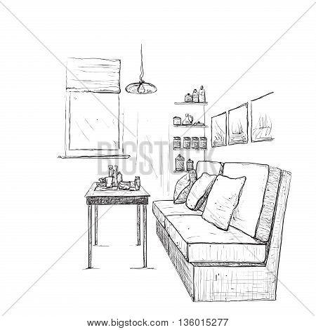 Modern interior hand drawing vector. Living room