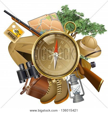 Vector Safari Concept with Compass isolated on white background