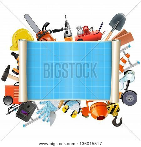 Vector Construction Scroll with Tools isolated on white background