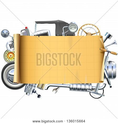 Vector Retro Car Parts Frame isolated on white background