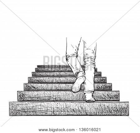 Man climbing the stairs. Hand drawn stairs and legs