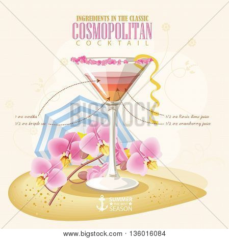 Vector illustration of popular alcoholic cocktail. Cosmopolitan club alcohol shot.