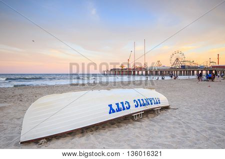 Life Guard Boat On The Beach In Atlantic City